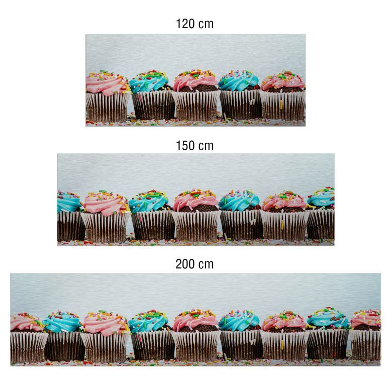 Küchenrückwand alu dibond  Küchenrückwand - Alu-Dibond-Silber - Party Cupcakes | Party ...