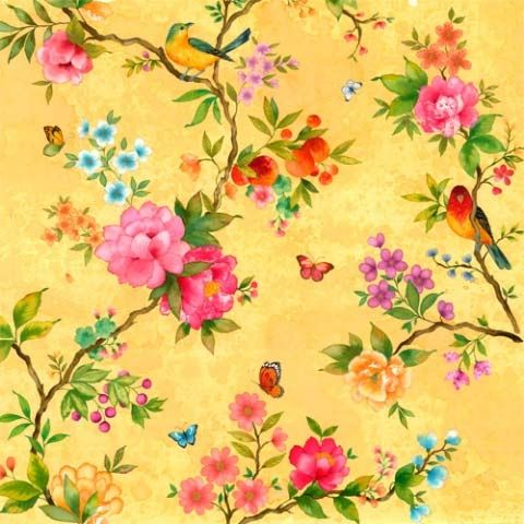 """Floral Pattern"". Wish this came as wallpaper for the desk nook."