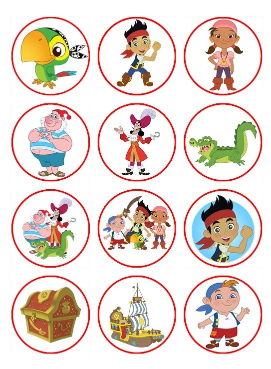 Printable Jake and the Neverland Pirates Cupcake Toppers