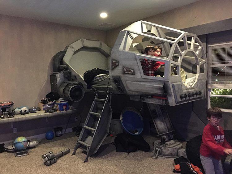Impressive Custom-Built \'Star Wars\' Bedroom Featuring a Kid\'s Bed ...