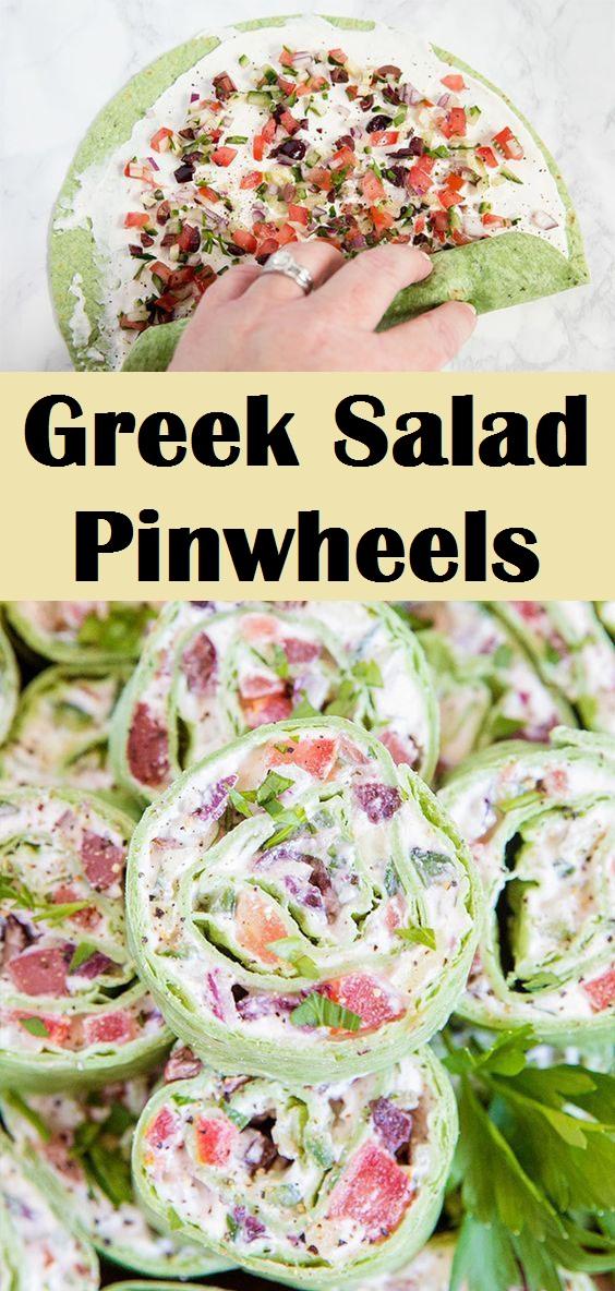 Greek Salad Pinwheels Greek salad, Yummy appetizers