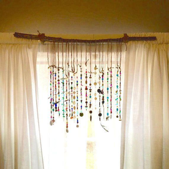 Bohemian Suncatcher For Your Curtains Windows Or Walls Sun Etsy Bohemian Curtains Beaded Curtains Handmade Home Decor