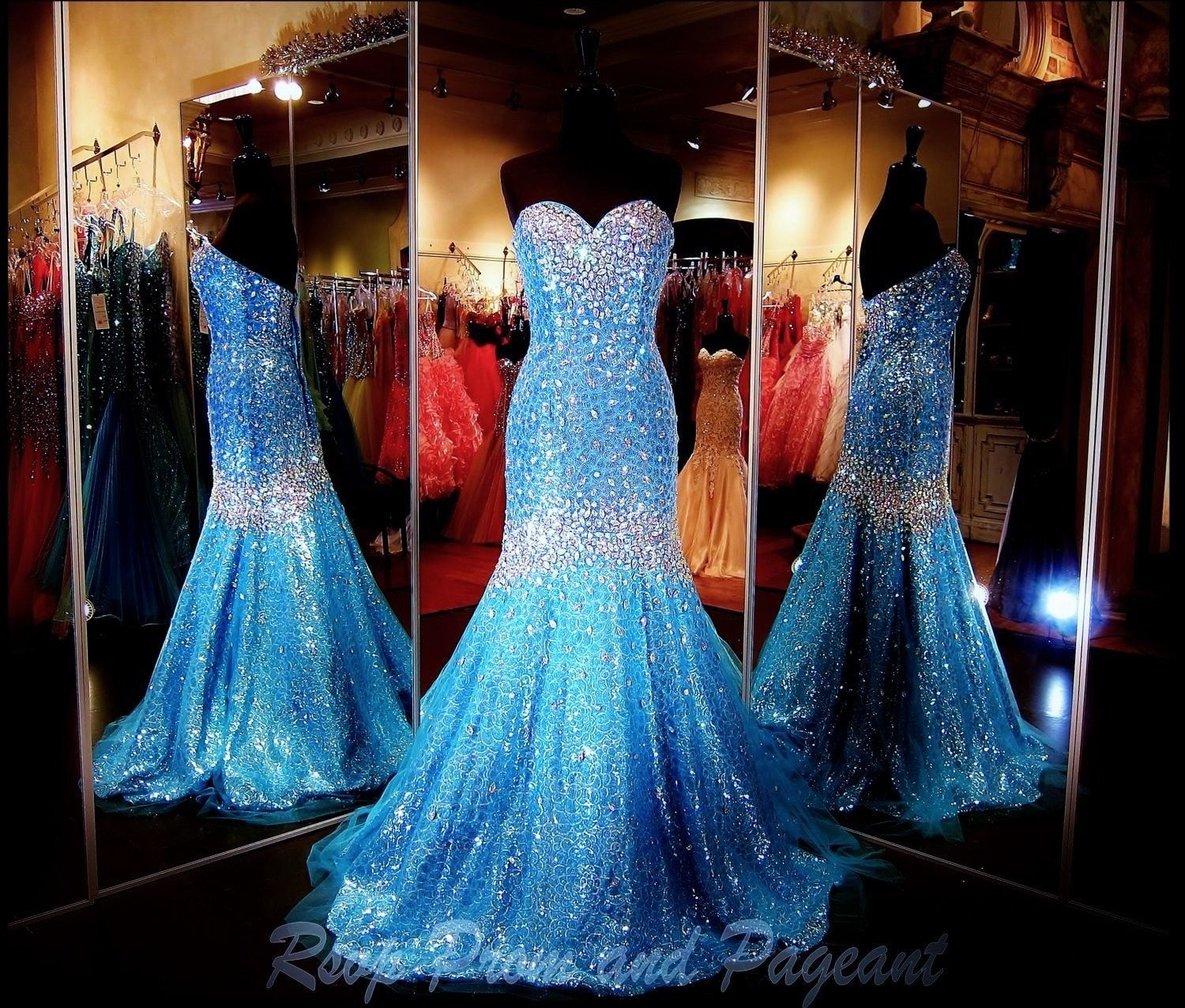 Light Blue Mermaid Gown covered with Crystals-Sweetheart-Strapless ...