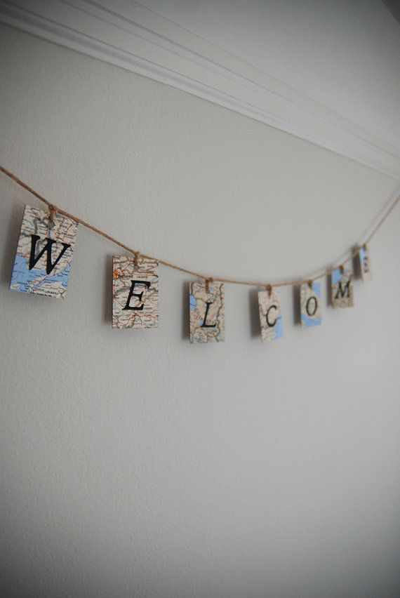 Welcome Map Banner Home Decor Housewarming Decoration