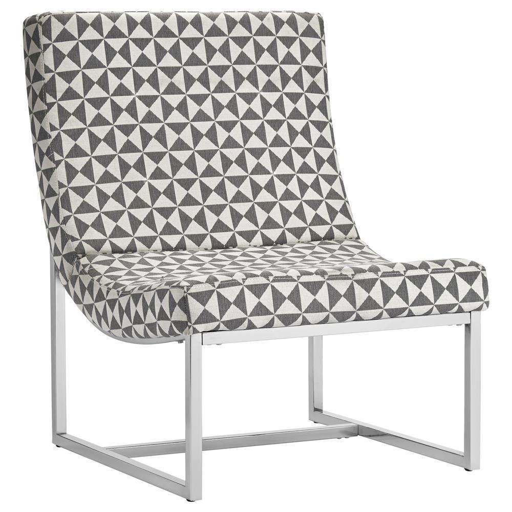 Geometric Print Fabric Lounge Chair with Metal Legs/Chairs