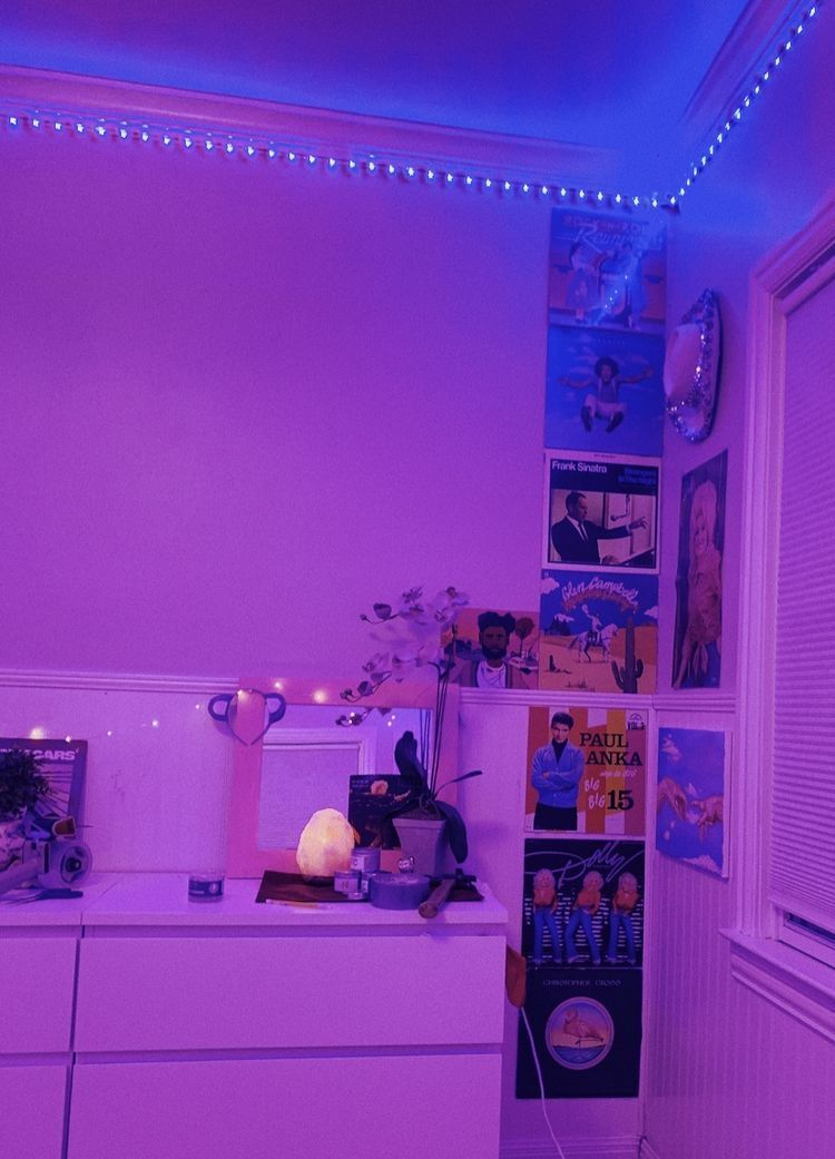 Room with led lights all around