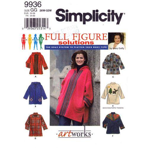 Simplicity 9936 Womens Plus Size Jacket Pattern Size 26 28 30 32