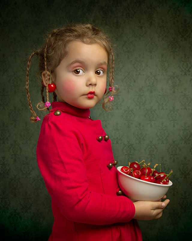 A little girl in red with a bowlful of cherries! Photographer ~Bill Gekas