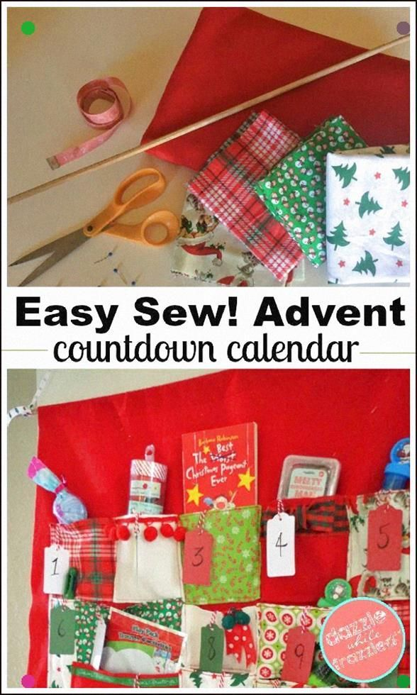 How To Make A Large Diy Easy Sew Advent Calendar For Kids. Entryway Or Wall-Mounted Fabric Advent Countdown Calendar With Felt And Assorted Christmas Cotton Fabric And Ribbon Trims. Diy Santa Claus Countdown For Kids With Sewing Pattern For Fabric Advent Calendar With Pockets. Get The Kids Excited For Christmas Traditions. #Feltcrafts #Adventcalendars #Diyadventcalendar #Santacountdown #Santaiscoming #Christmascrafts #Christmascraftsforkids #Christmassewing #Arizonacraftmom #Dazzlewhilefrazzled #wineadventcalendardiy