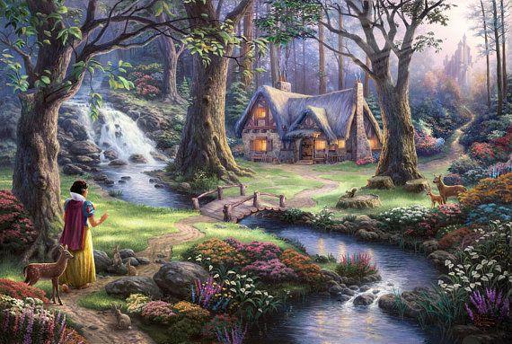 Disney Oil Paintings Thomas Kinkade Snow White door ThomasArtwork, $46.00