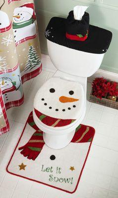 snowman bathroom sets. Snow Time Country Snowman Bathroom Commode Set