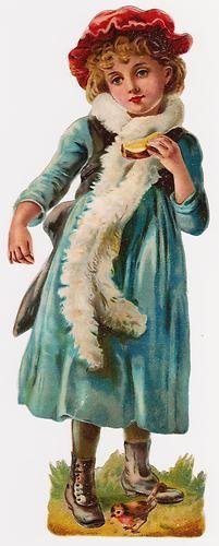 Victorian Die Cut Scrap, Large Child with Bird