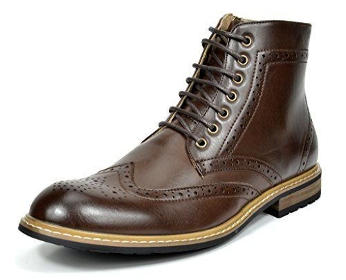 Bruno Marc Bergen 01 Men S Formal Classic Lace Up Leather Lined Perforated Design Tall Ankle Oxford Boots Dark Bro Leather Chukka Boots Boots Ankle Boots Dress