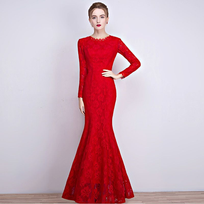 Red Lace Evening Gown Chinese Style Bride Marry Cheongsam Dress Long