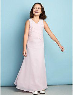 Ankle-length Chiffon Junior Bridesmaid Dress - Blushing Pink Sheath/Column V-neck