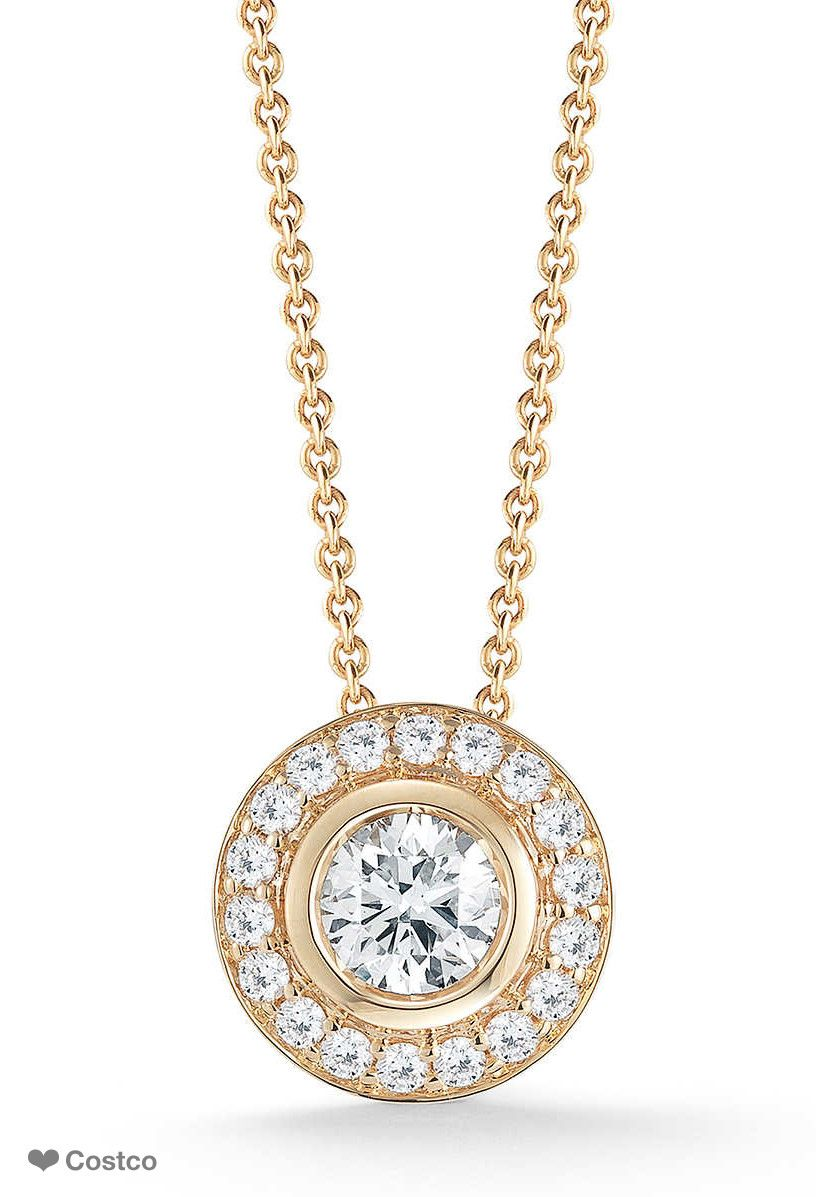 7a1b0aeb749a Round Brilliant 1.00 ctw VS2 Clarity, I Color Diamond 18kt Yellow Gold  Necklace