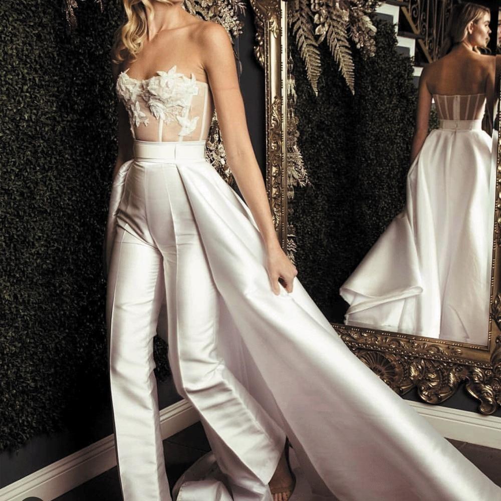 White jumpsuits for women 2020 lace appliqué elegant detachable skirt pants for weddings