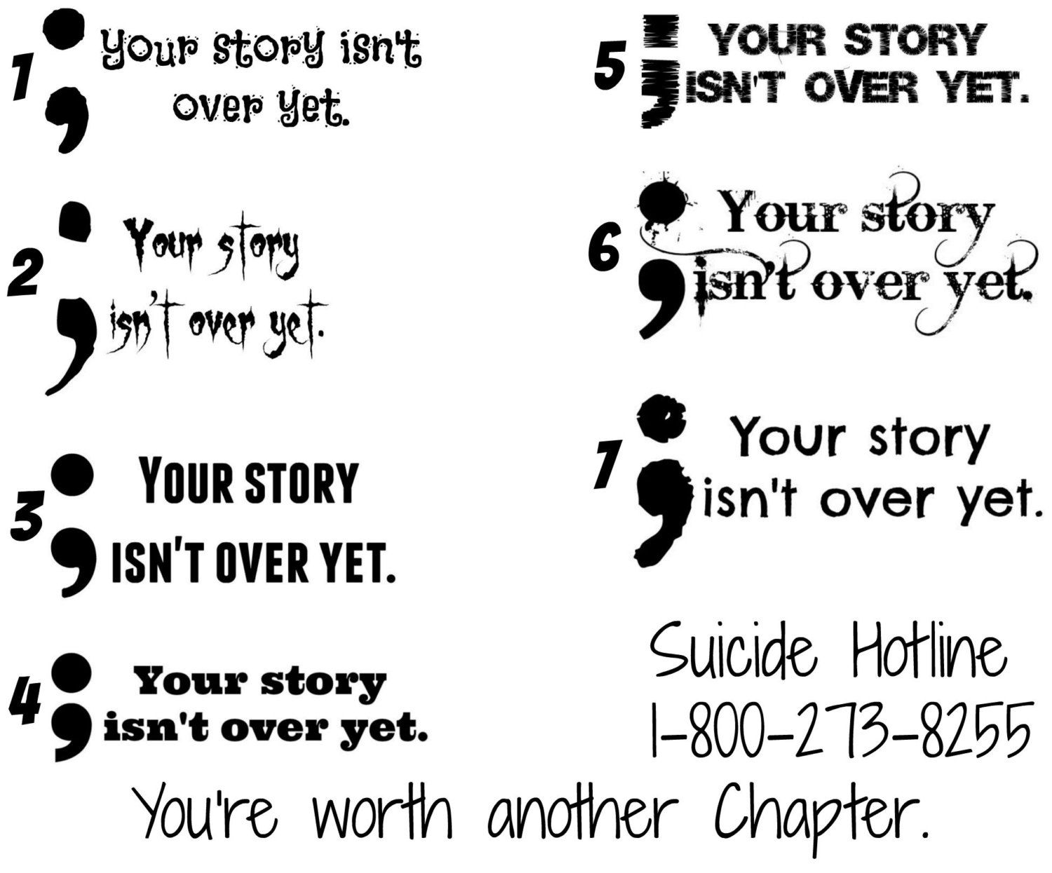 Your Story Isnt Over Yet Semicolon Temporary Tattoos Suicide