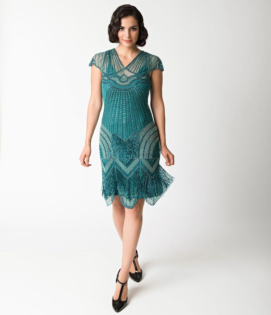 1920s Style Teal Beaded Deco Cap Sleeve Beatrice Flapper Dress ...