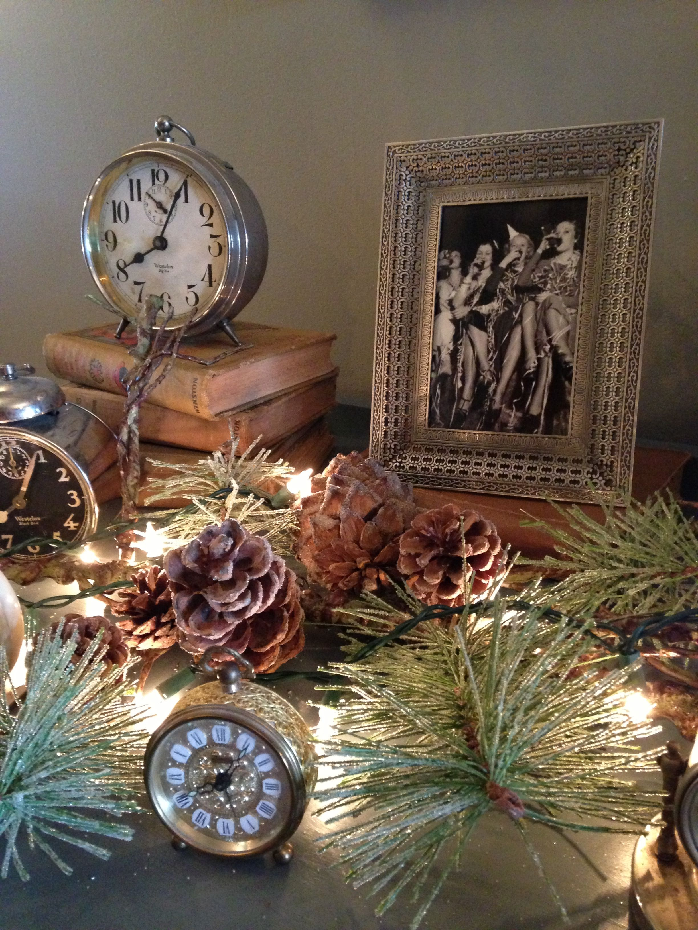 New Years Eve décor. Better start scrounging up old clocks