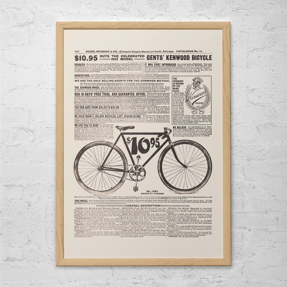 Old Bike Poster Antique Bicycle Ad 1902 Kenwood Bike Ad