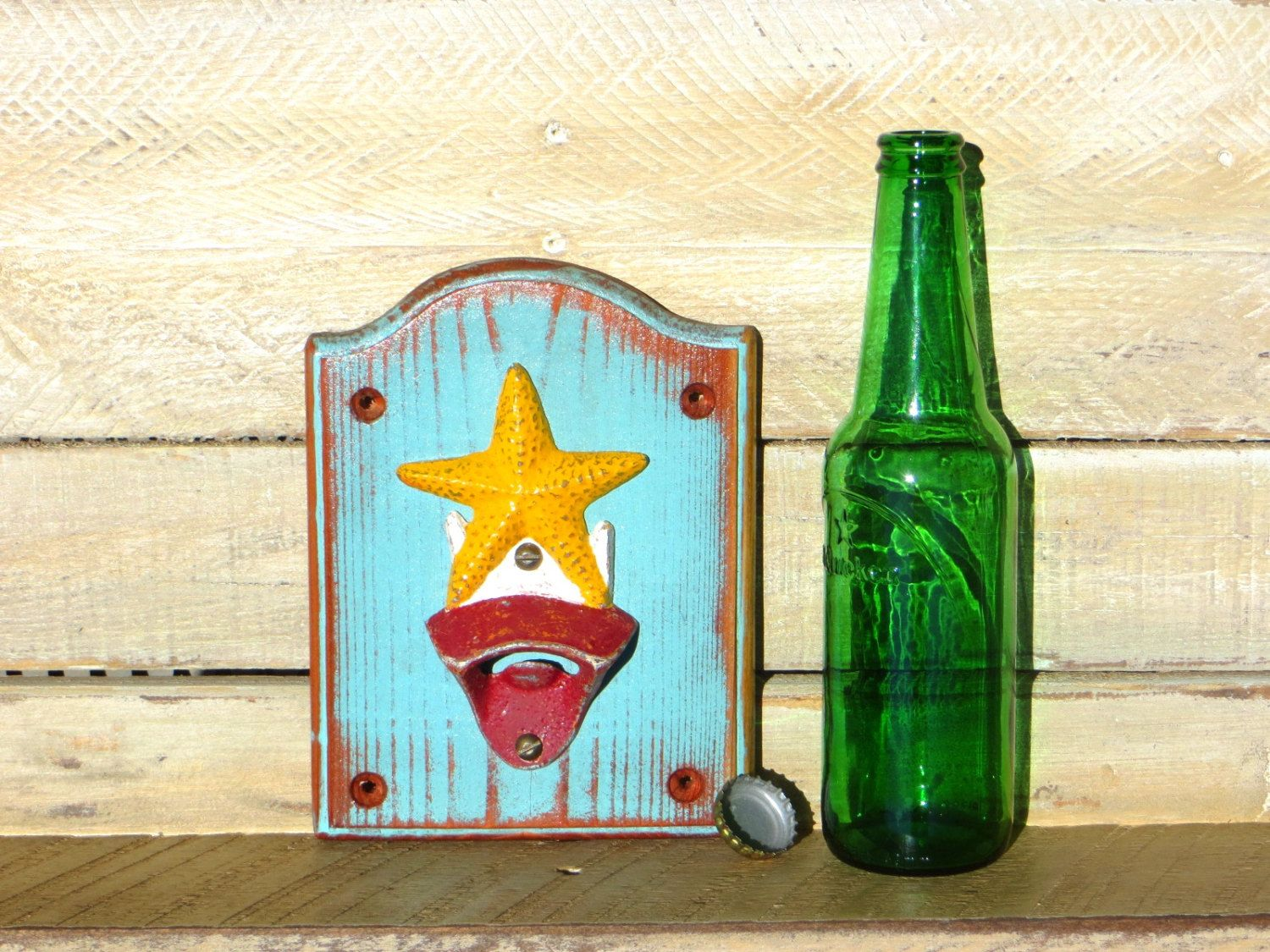 Starfish bottle opener nautical decor beach inspired cast iron starfish bottle opener nautical decor beach inspired cast iron wall mounted bottle opener handmade distressed amipublicfo Image collections