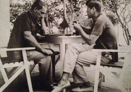 John Kennedy plays backgammon with brother-in-law Stas Radziwill ...
