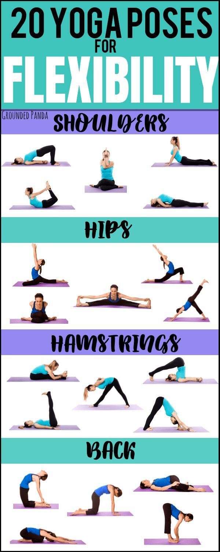 20 Beginner Yoga Poses For Flexibility Free Printable Yoga Beginners Yoga Fitness Yoga Routine