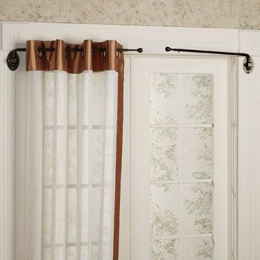Images Of Curtains With Short Rods Ball Swing Arm Curtain Rod