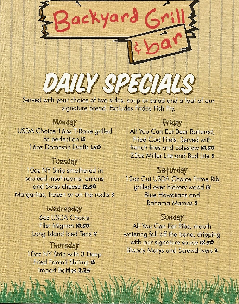 Daily Specials Menu | Backyard Grill And Bar Daily Specials Menu   Backyard  Grill And Bar Design