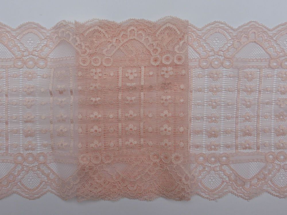 "Black Pink Hot Bright Stretch Galloon Lace Flat 160mm~6 1//4/"" trim~SLST1699."