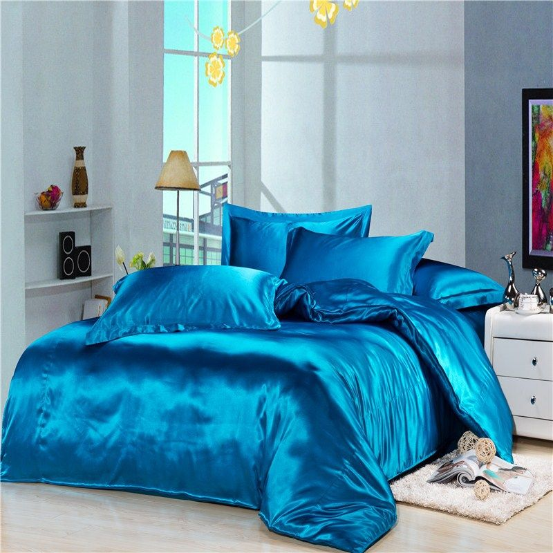 Turquoise Comforters And Bedspreads Luxury Blue Silk Satin Bedding Duvet Cover Comforter Sets 4pc Solid Queen Bed Sheets Satin Bedding Silk Bed Sheets