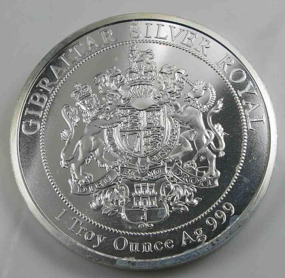 Gibraltar 15 Pounds 2017 Queen Elizabeth Silver Royal 1 Troy Ounce Ag 999 24