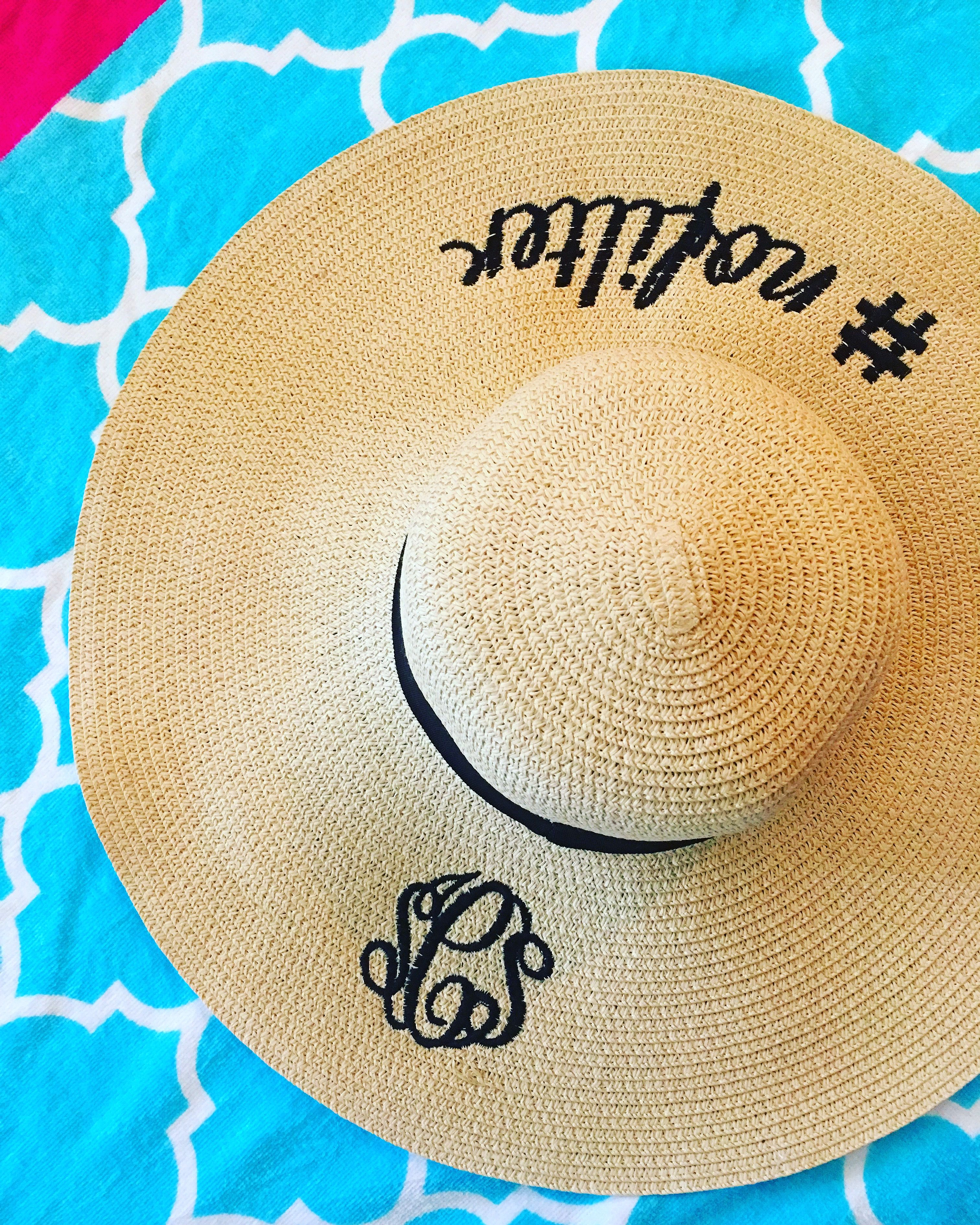 Monogrammed Sun Hats With Oh So Swell Slogans And Sayings