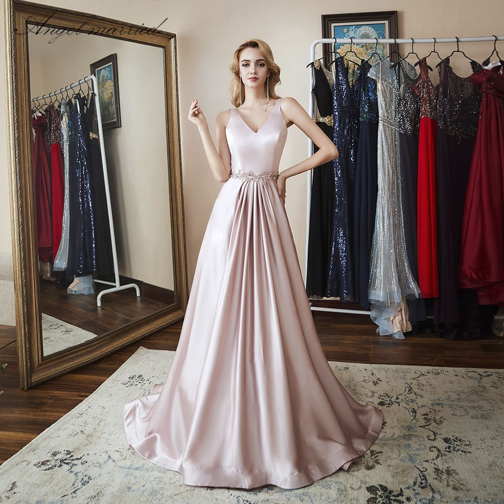 Prom dresses long for women v neck formal evening gowns a line