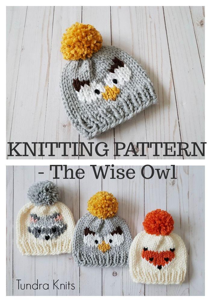The Wise Owl Beanie - Digital Download - Knit Owl Beanie | Gorros ...