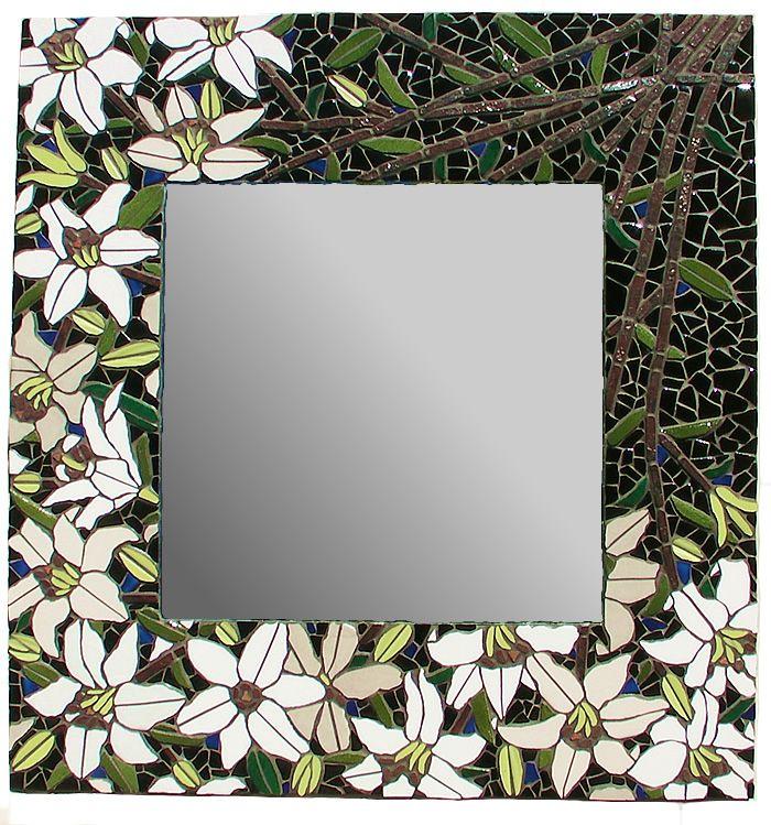 White Lilies Mosaic Mirror …   Pinteres…