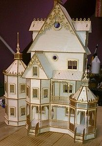 """This is our Ashley Gothic Victorian Half INCH SCALE KIT, Completed on Sept 29th 2012. This was a fun project and long one it took me three weeks of design time due to the detail and in the end I am very pleased and I am sure you will too. It measures 24Wx12Dx30H. This is a large half scale kit. Ceiling height 5"""""""