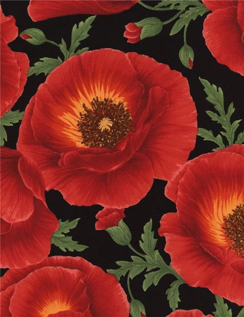 Black Large Red Poppy Flower Fabric By Timeless Treasures Flower