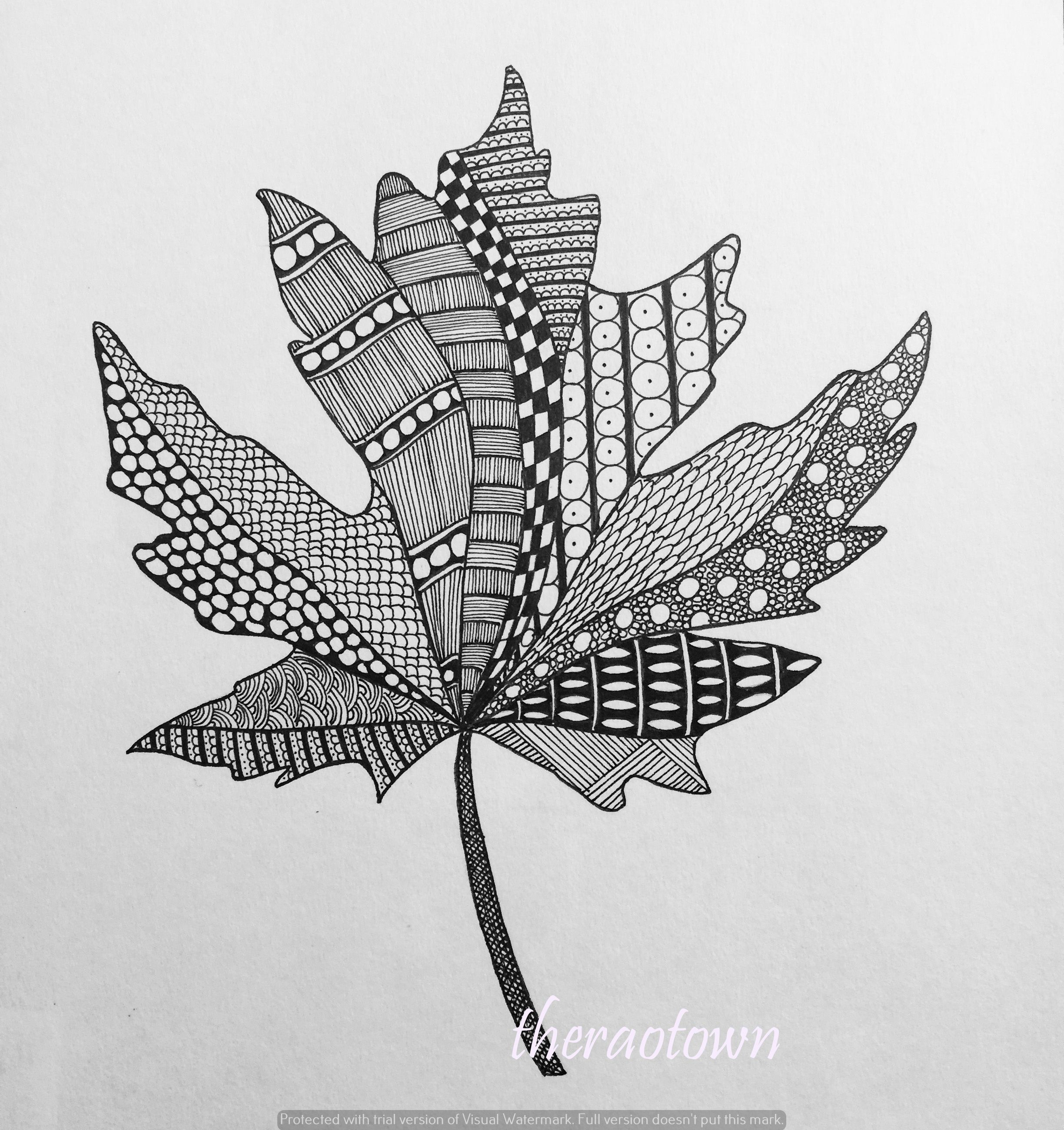 ZENTANGLE – MAPLE LEAF Doodle Flowers Pinterest