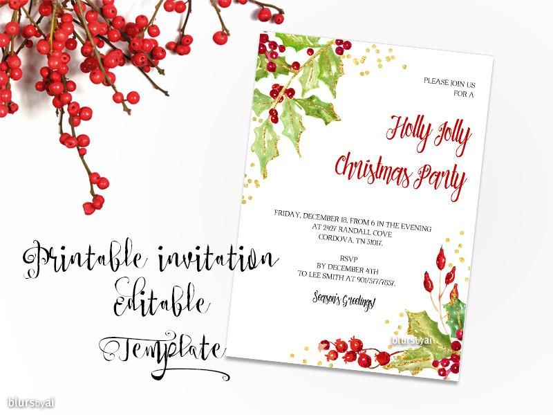 Printable Christmas party invitation template for Word, in 5x7
