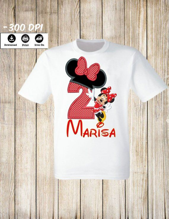 7295c2da1 Personalized Minnie Mickey Mouse Birthday Girl T-Shirt iron on. Two Years  Old Personalized Name and