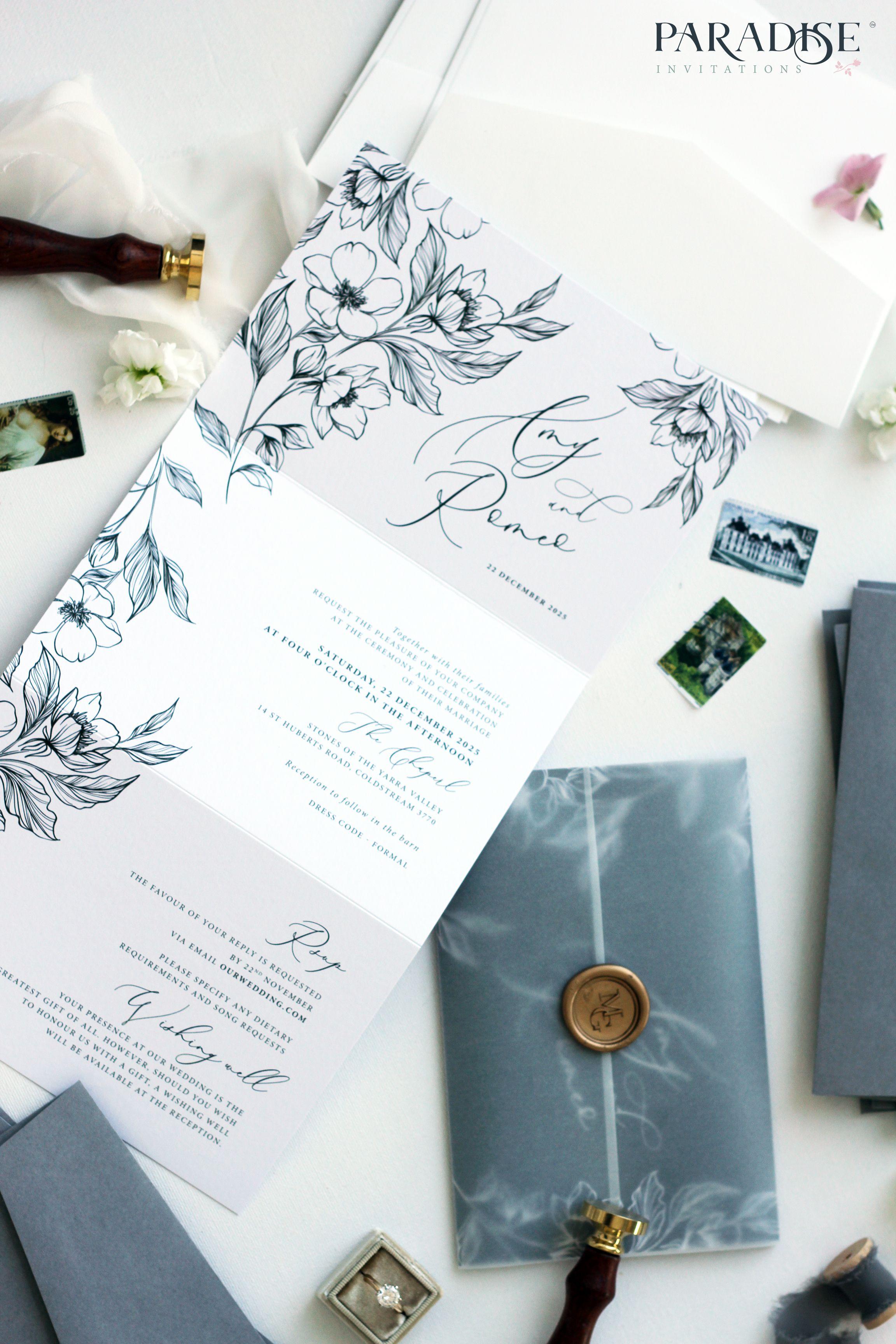 Anne Cecile Hand Drawn Floral Tri Fold Wedding Invitation Undangan Pernikahan Mewah Kartu Undangan Pernikahan Contoh Undangan Pernikahan