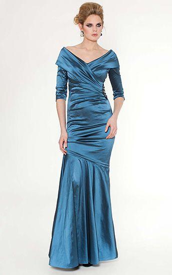 Teal V-Neck Portrait Collar Mermaid Dress #Mother of the Bride ...