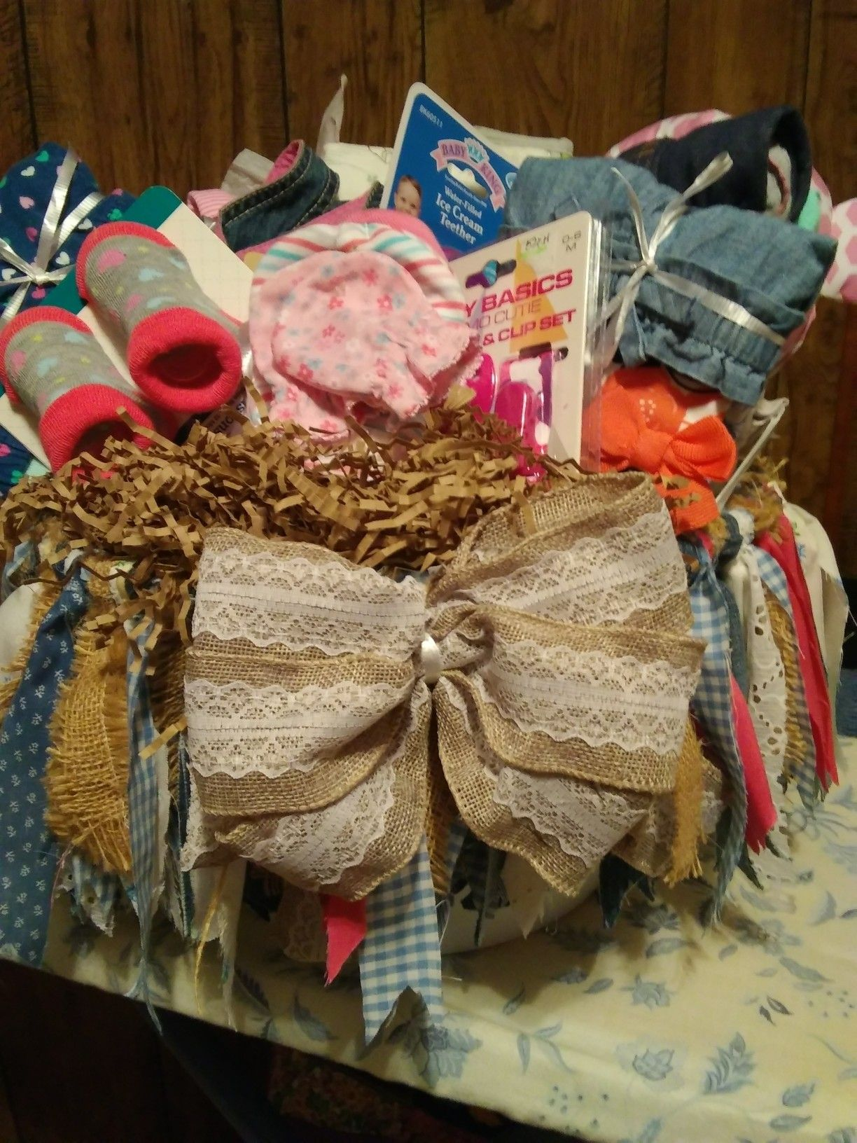 Baby girl basket gift wrapping baby girl gifts