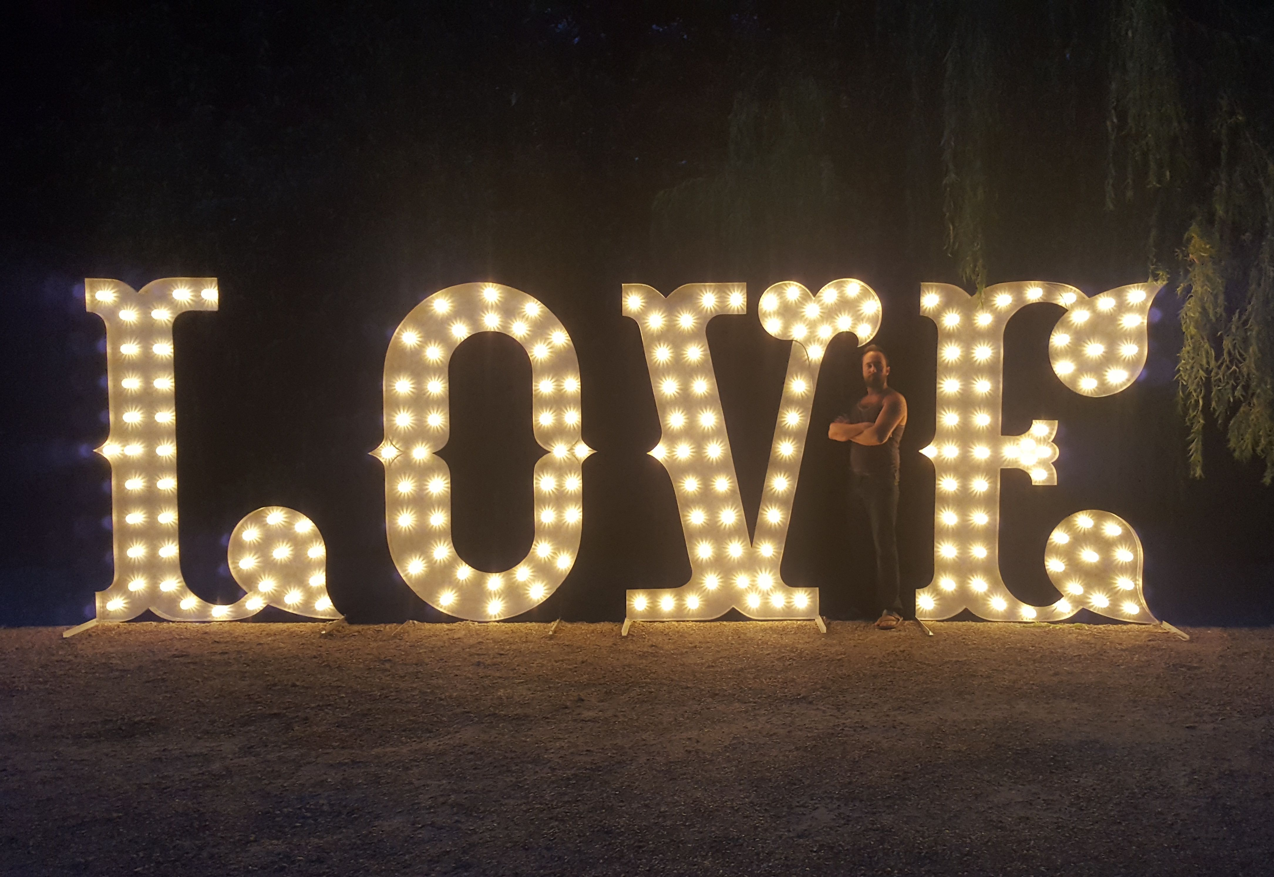 unique handmade giant 7ft tall love illuminated letter lights circus style