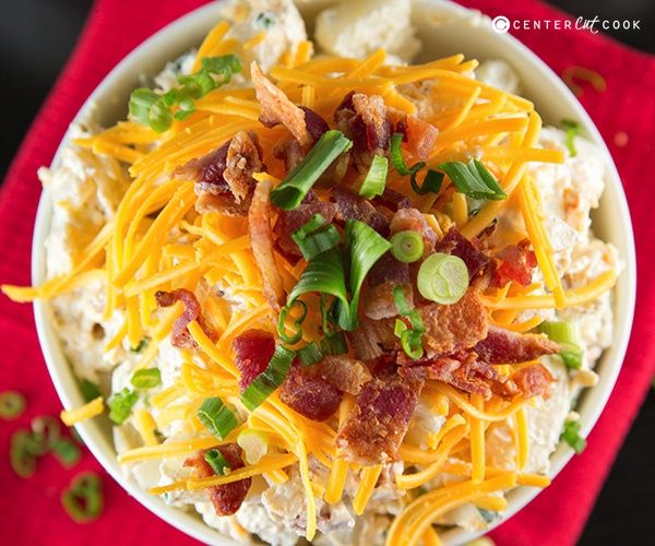 Loaded Baked Potato Salad. I love making this. It is so yummy