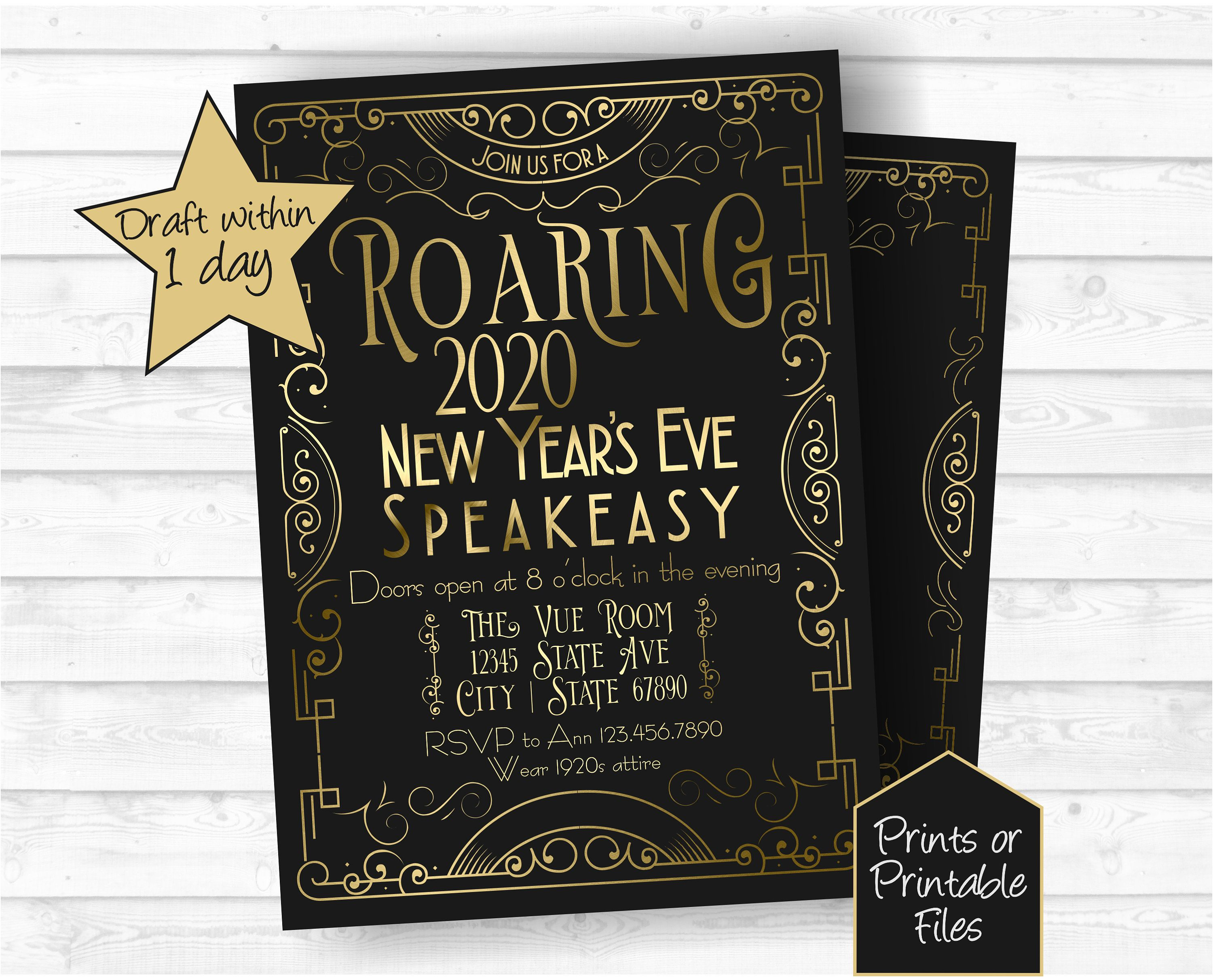 Roaring 20s New Year's Eve Party Invitations, Speakeasy