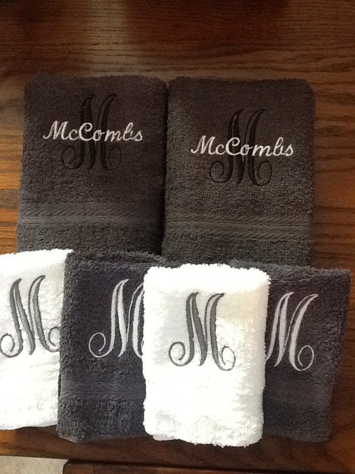 fancy name and initial monogrammed towels sewing pinterest