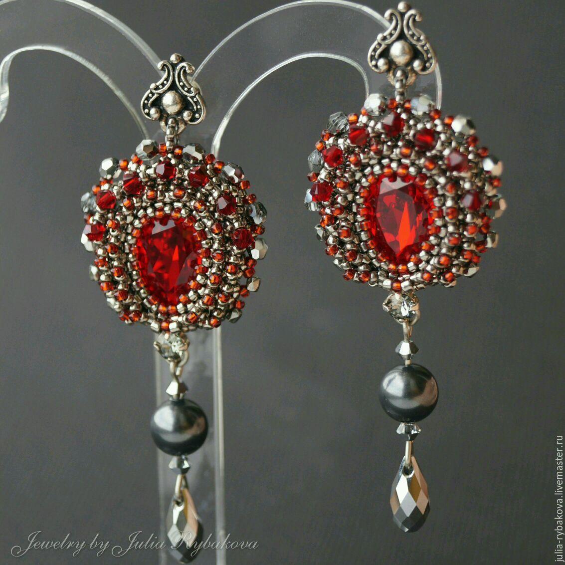 Купить Вечерние серьги с кристаллами Swarovski, длинные, бордовые, нарядные - вечерние серьги, нарядные серьги